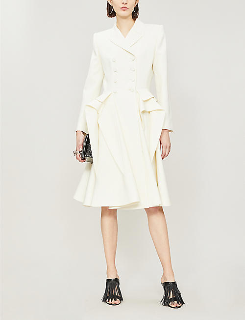 ALEXANDER MCQUEEN Draped-panel wool-blend coat