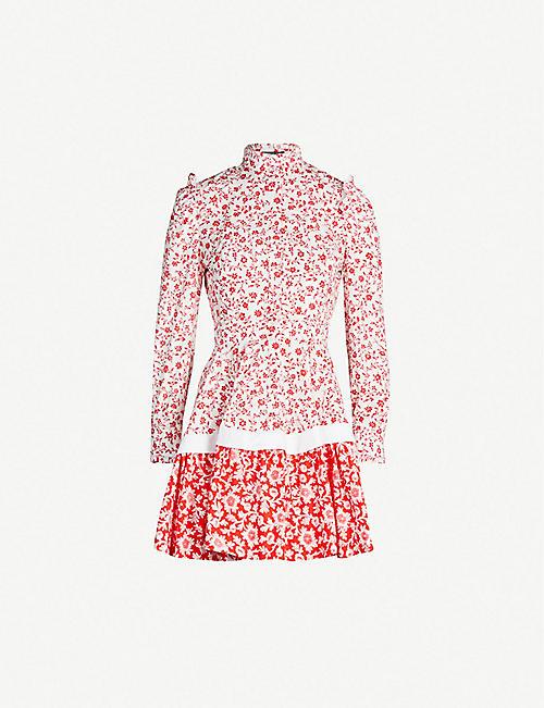 bfb15572c5905 ALEXANDER MCQUEEN Contrast-floral pattern cotton-poplin dress