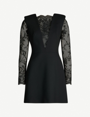 ALEXANDER MCQUEEN Floral lace and wool-blend dress