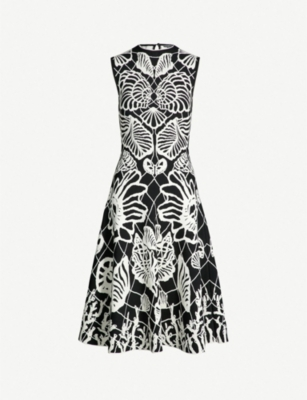 ALEXANDER MCQUEEN Shell-embroidered knitted dress