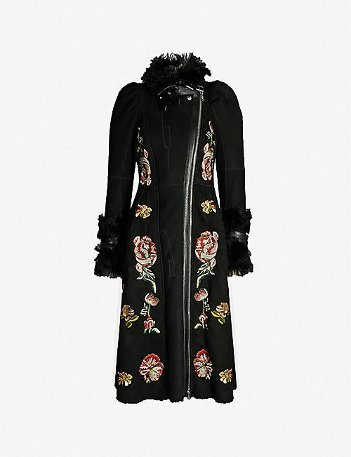 ALEXANDER MCQUEEN Floral-embroidered shearling and suede coat 74f55dc03