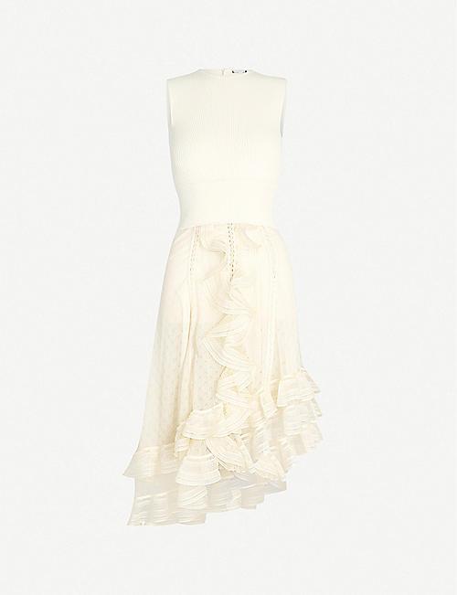 ca8c2d245e2 ALEXANDER MCQUEEN Asymmetric flared ribbed woven midi dress