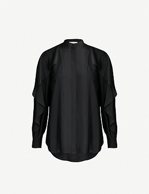 ALEXANDER MCQUEEN Frilled long-sleeved silk shirt
