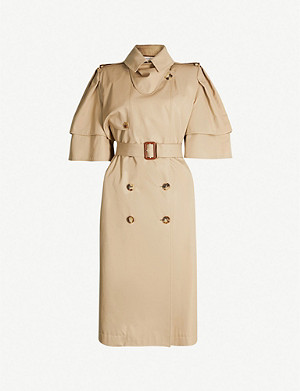 ALEXANDER MCQUEEN Short-sleeved double-breasted cotton-gabardine trench coat