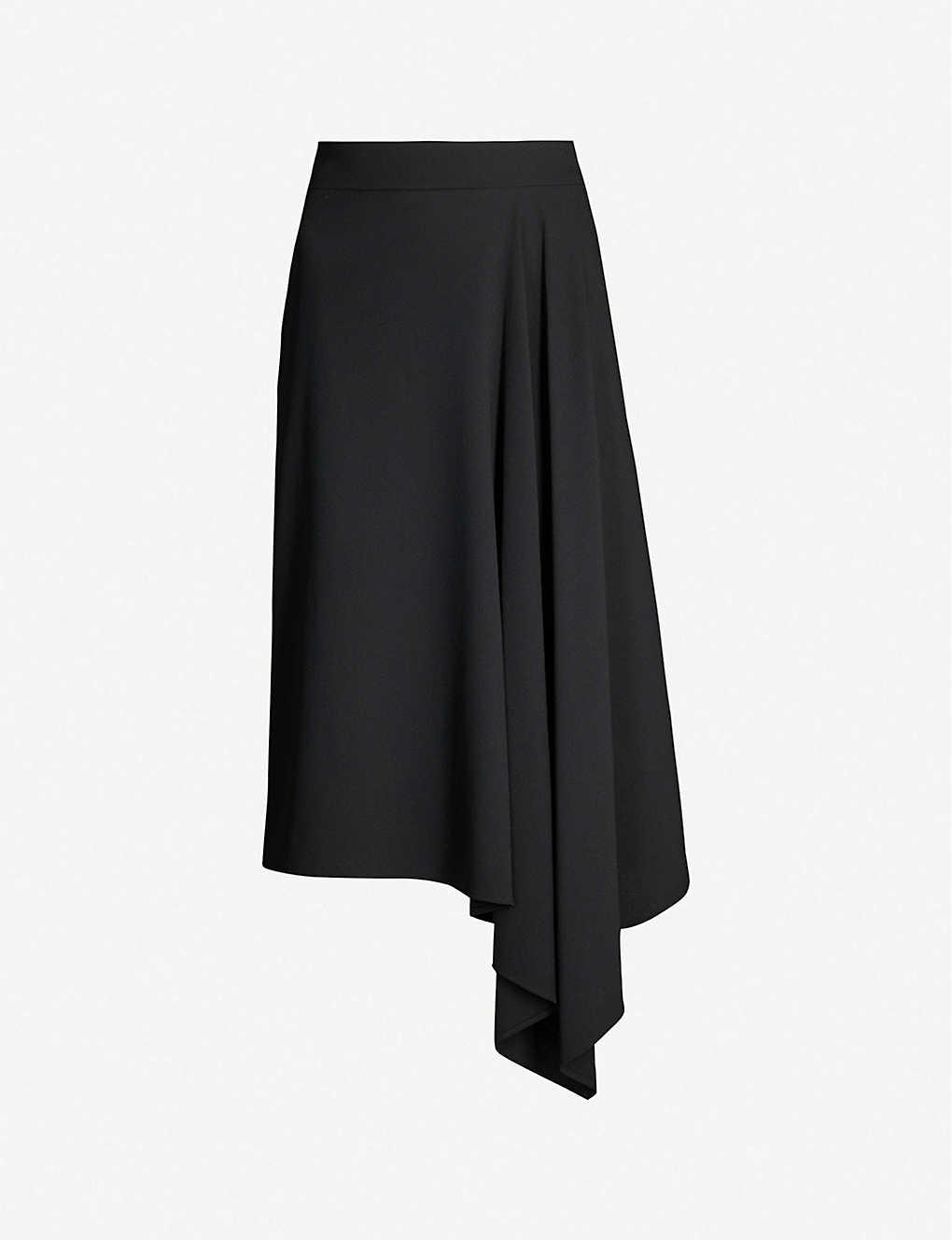 ebce75d6b0 ALEXANDER MCQUEEN - Draped asymmetric wool-blend midi skirt ...