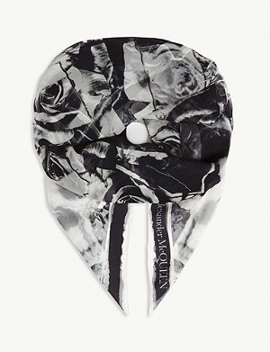ALEXANDER MCQUEEN Ripped Roses silk scarf