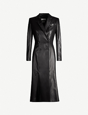 ALEXANDER MCQUEEN Double-breasted leather trench coat