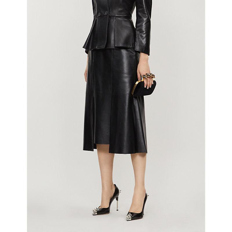 1478b8c20 Alexander Mcqueen High-Waisted Leather Midi Skirt In Black ...