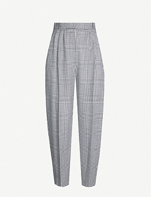 ALEXANDER MCQUEEN Houndstooth high-rise tapered wool trousers