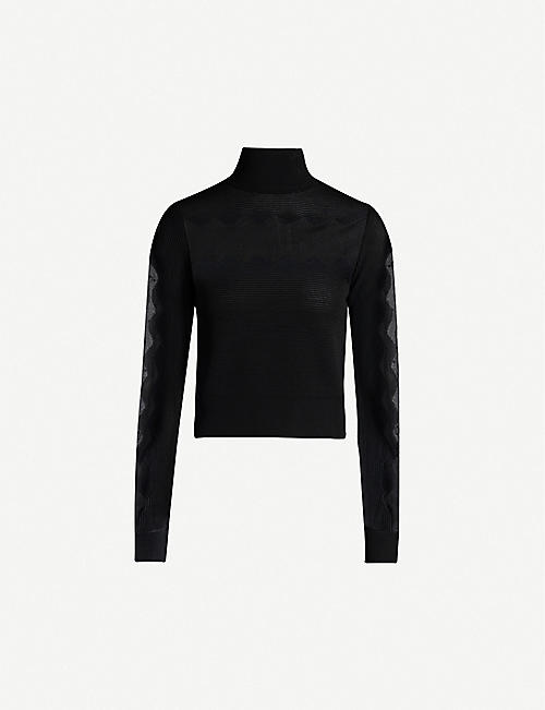 ALEXANDER MCQUEEN High-neck long-sleeved knitted top