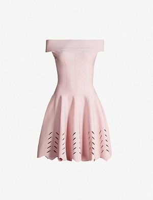 ALEXANDER MCQUEEN Off-the-shoulder woven mini dress