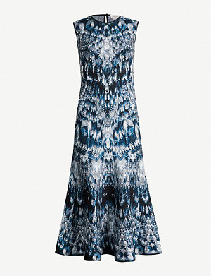 ALEXANDER MCQUEEN Abstract-print stretch silk-blend dress