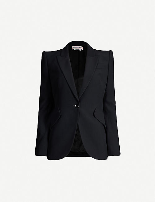 ALEXANDER MCQUEEN Padded-shoulders long-sleeved crepe jacket