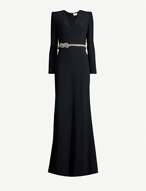 ALEXANDER MCQUEEN V-neck flared-skirt crepe maxi dress