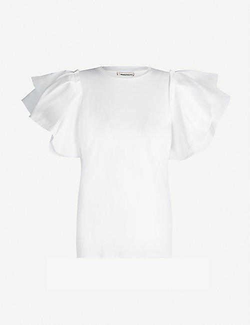 ALEXANDER MCQUEEN Flared-sleeve cotton-jersey T-shirt