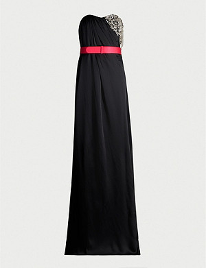 ALEXANDER MCQUEEN Crystal-embellished sleeveless silk-crepe de chine gown