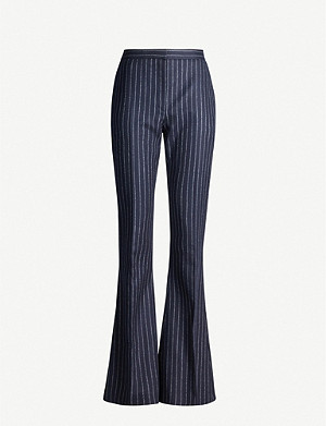 ALEXANDER MCQUEEN Pinstriped mid-rise flared wool trousers