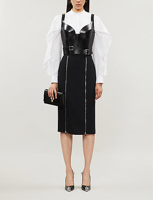 ALEXANDER MCQUEEN Zipped fitted crepe midi skirt