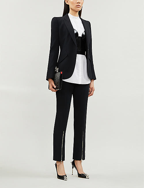 ALEXANDER MCQUEEN Zip-detail slim-fit high-rise crepe trousers