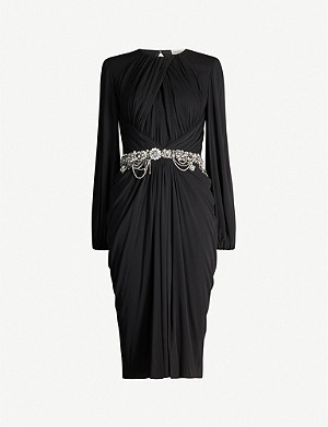 ALEXANDER MCQUEEN Draped crystal-embellished crepe midi dress