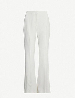 ALEXANDER MCQUEEN Satin-trim high-rise flared woven trousers