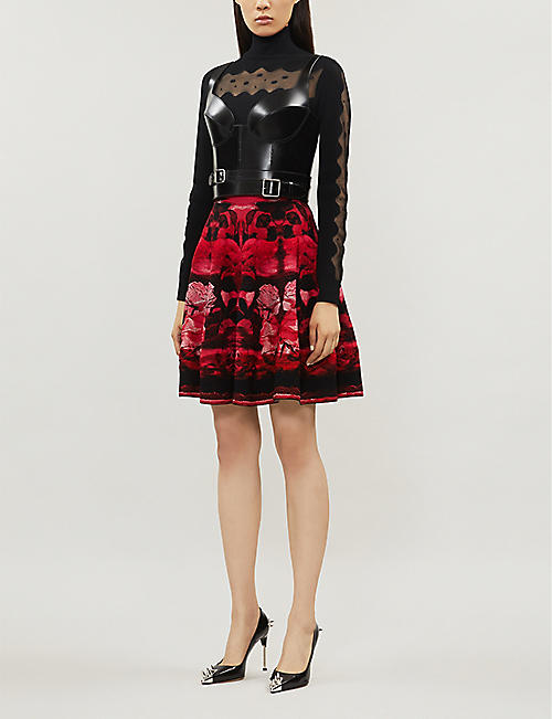 ALEXANDER MCQUEEN Floral-embroideed stretch-silk mini skirt