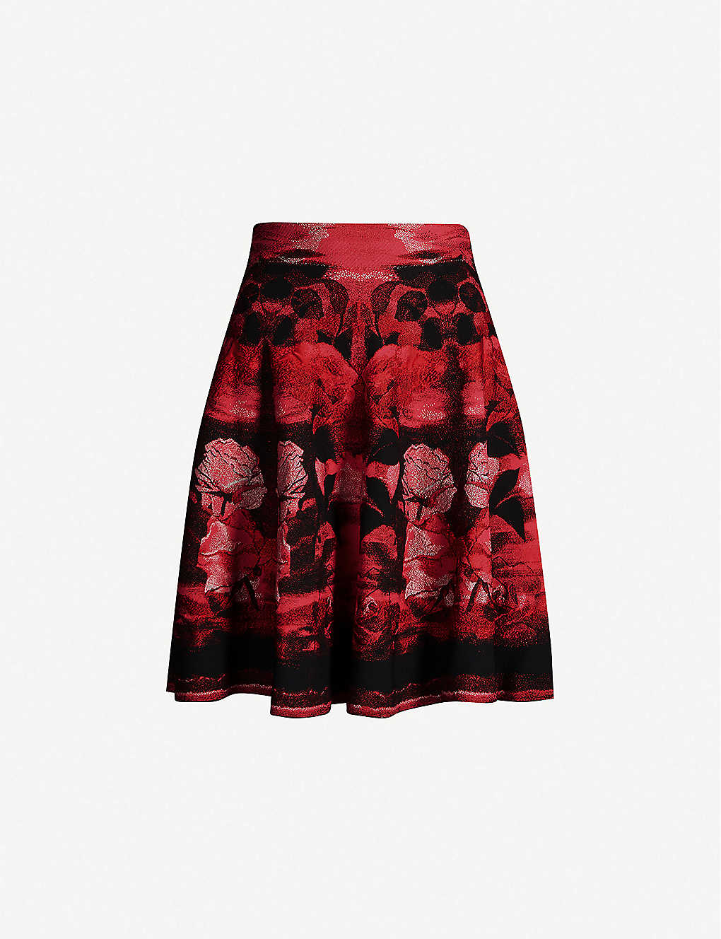 Alexander Mcqueen Skirts Floral-embroideed stretch-silk mini skirt