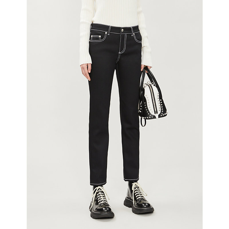Alexander Mcqueen Pants MID-RISE STRAIGHT COTTON-TWILL TROUSERS