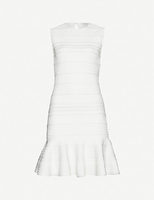 ALEXANDER MCQUEEN Striped sleeveless woven mini dress