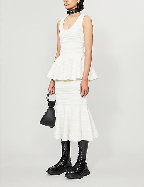 ALEXANDER MCQUEEN Striped sleeveless woven top