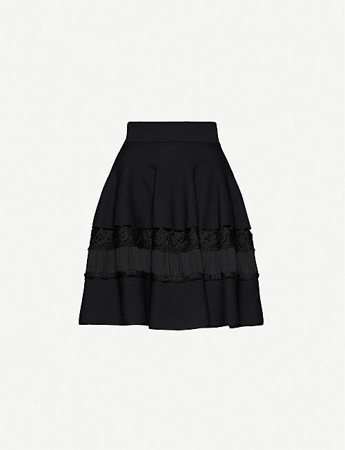 ALEXANDER MCQUEEN Contrast-panel flared woven mini skirt
