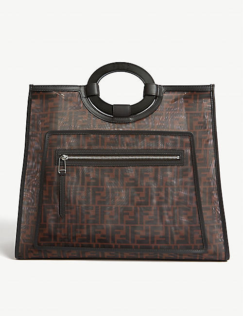 FENDI FF logo leather-trimmed mesh shopper
