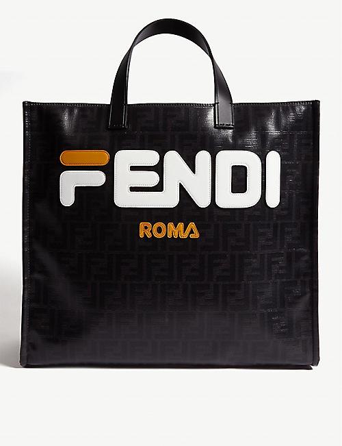 ec4ef50ed3c0 FENDI Logo coated-canvas and leather tote