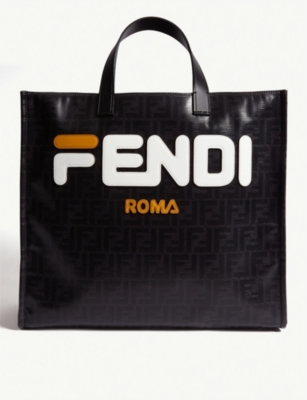 FENDI Logo coated-canvas and leather tote