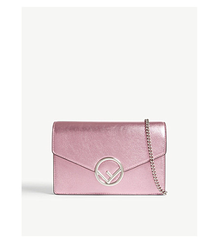 44638ccaf787 FENDI Metallic leather wallet-on-chain (Pink