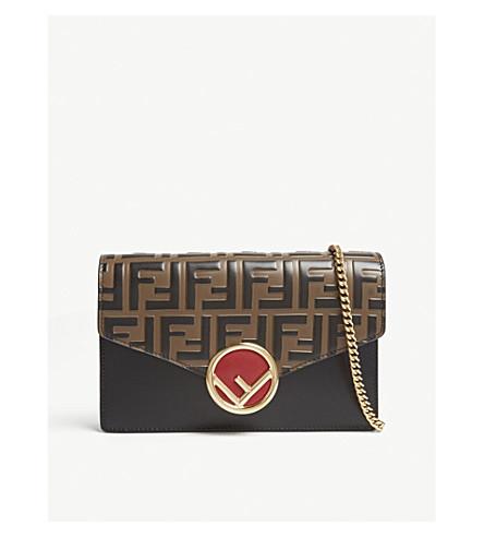 FENDI - Logo-detailed leather shoulder bag  63d8408994bcb