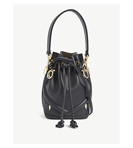 18430702ec FENDI Monster face leather bucket bag (Black