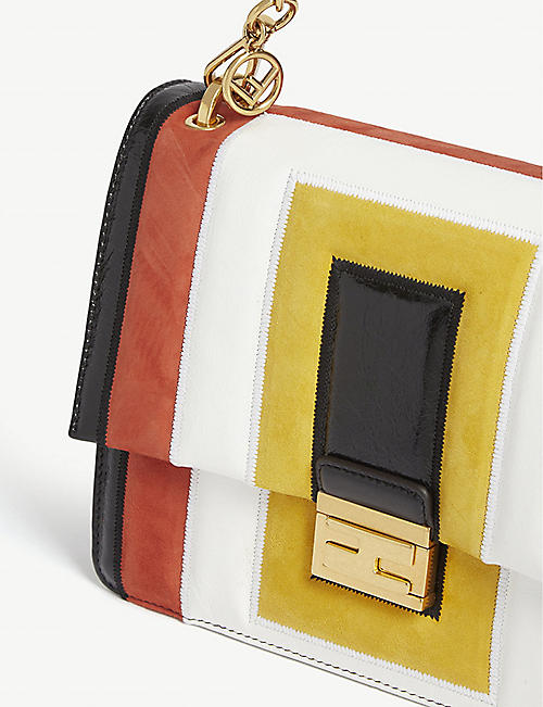 FENDI Kan U colour block leather shoulder bag