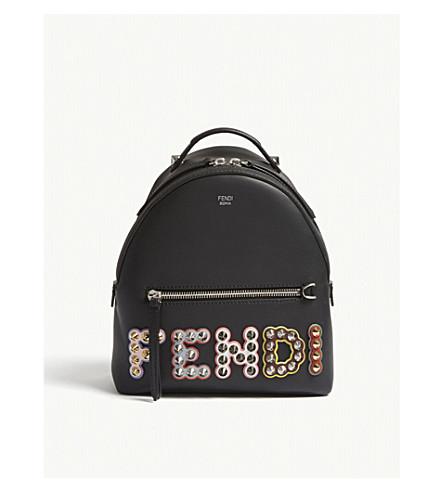 93423286279a FENDI Logo mini leather backpack (Black