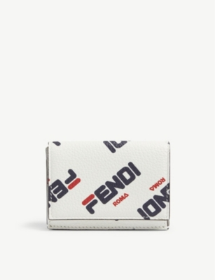 FENDI Logo print leather wallet