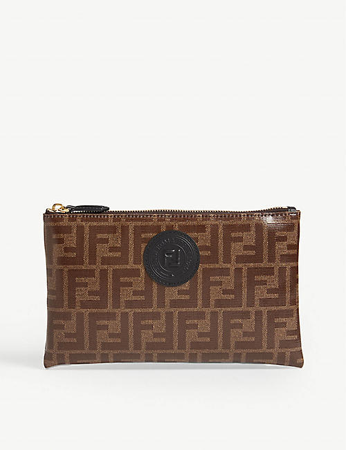 FENDI Logo print medium pouch