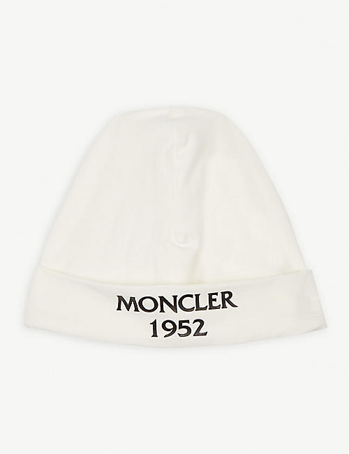 MONCLER Branded hat and romper gift set