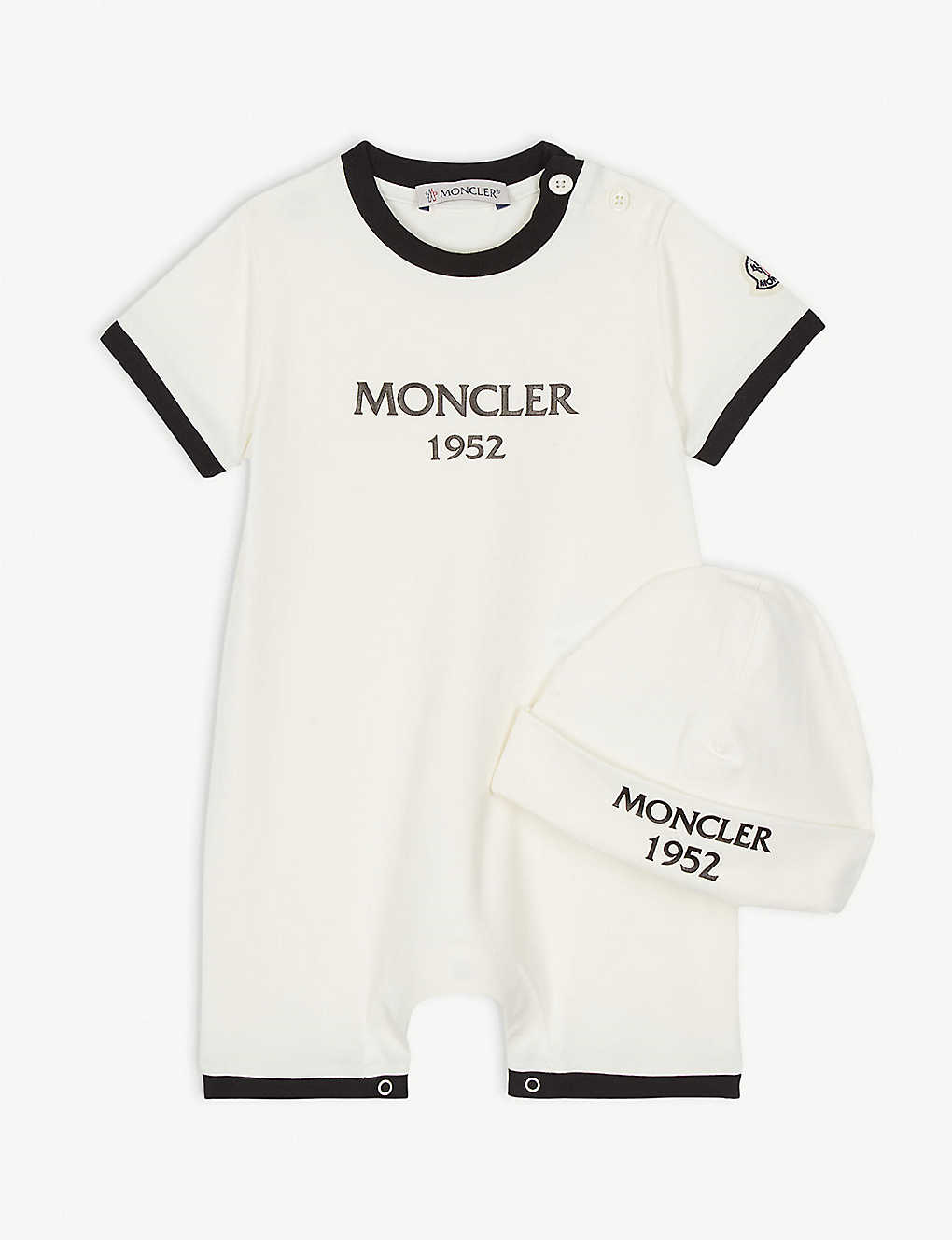 MONCLER: Branded hat and romper gift set 1-18 months