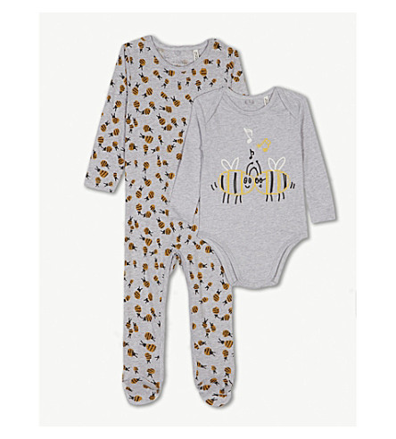 f8c32a3d963e STELLA MCCARTNEY Bumble bee-print cotton babygrow and body set 3-18 months