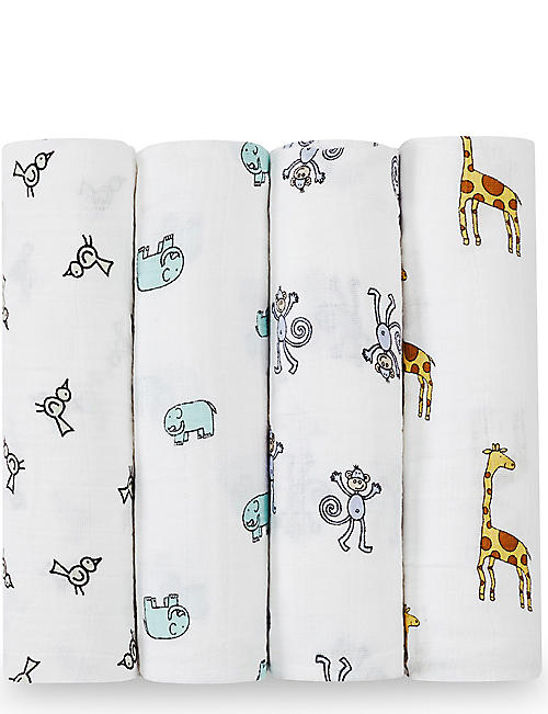 ADEN + ANAIS Set of four Jungle Jam swaddles