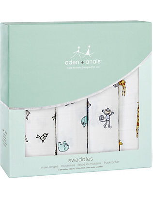 ADEN + ANAIS: Jungle Jam cotton muslin swaddles pack of four