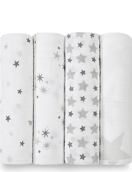 ADEN + ANAIS Set of four Twinkle Twinkle swaddles