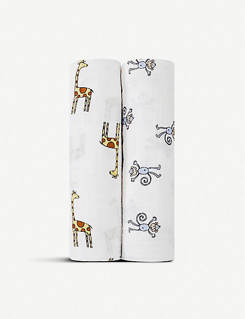 ADEN + ANAIS Set of two Jungle Jam swaddles