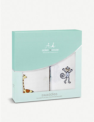 ADEN + ANAIS: Jungle Jam large cotton muslin swaddles pack of two