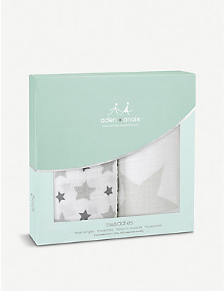 ADEN + ANAIS: Twinkle large cotton muslin swaddles pack of two